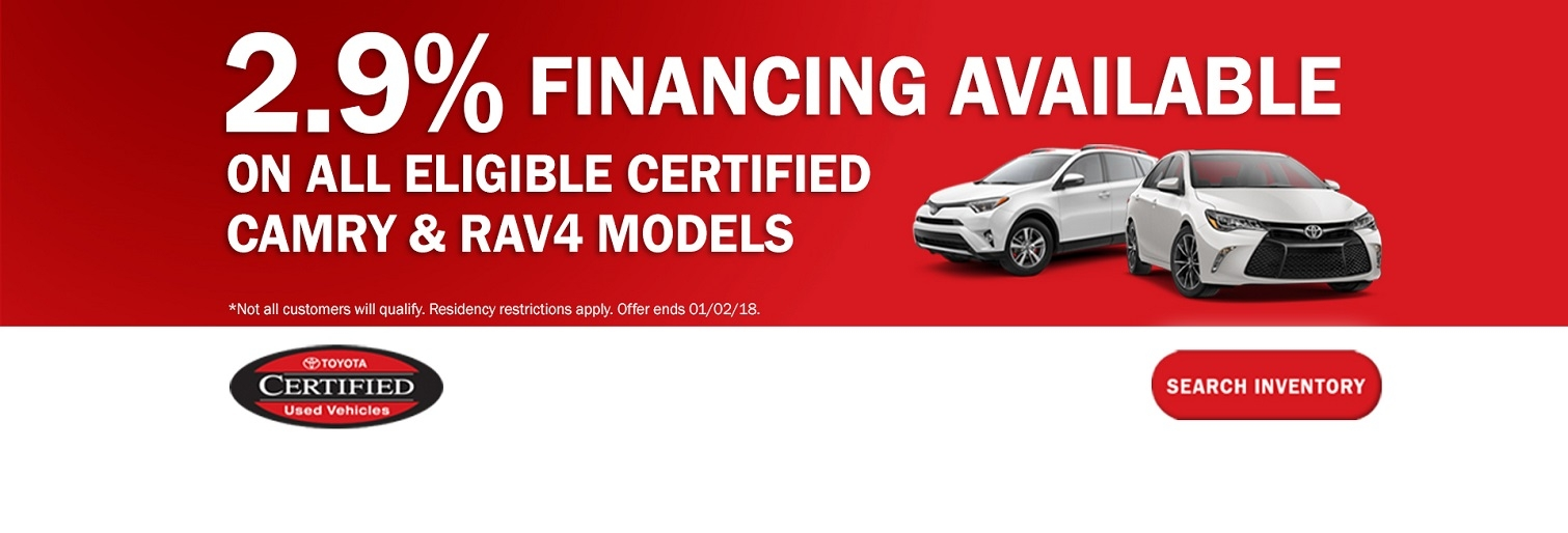 Toyota Certified Vehicle Specials