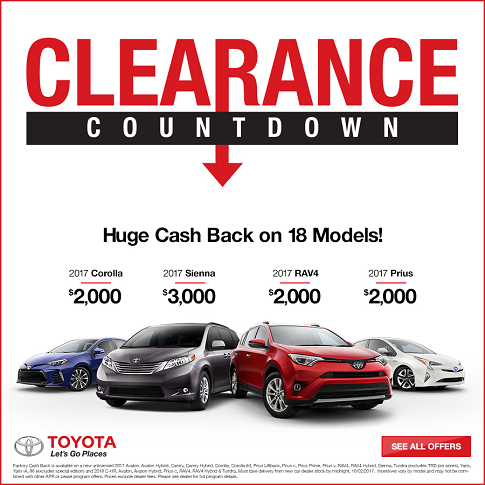 Toyota Clearance Countdown Cash Back