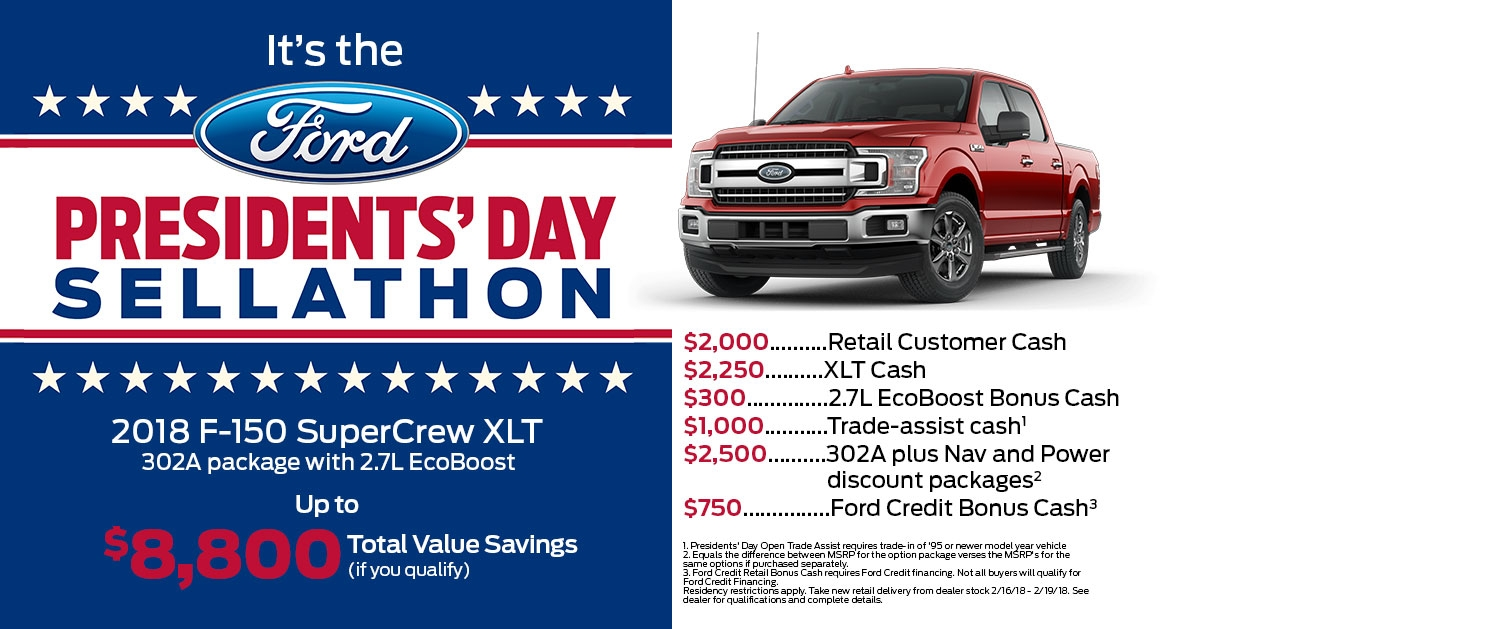F-150 Presidents' Day Sellathon Offer