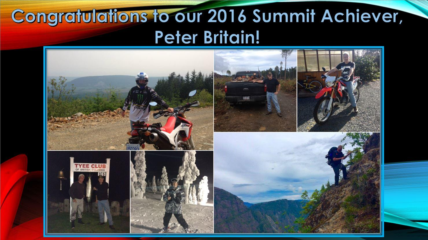 Congratulations to Peter Britain, 2016 Summit Achievers Winner!
