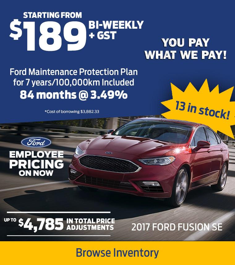 2017 Fusion Employee Pricing Calgary Northstar Ford