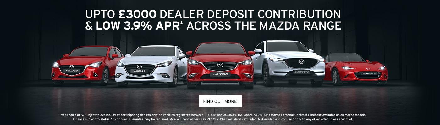 Up to £3000 dealer deposit contribution Mazda offer