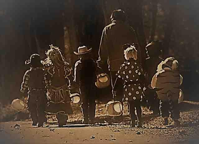 Kids walking Halloween