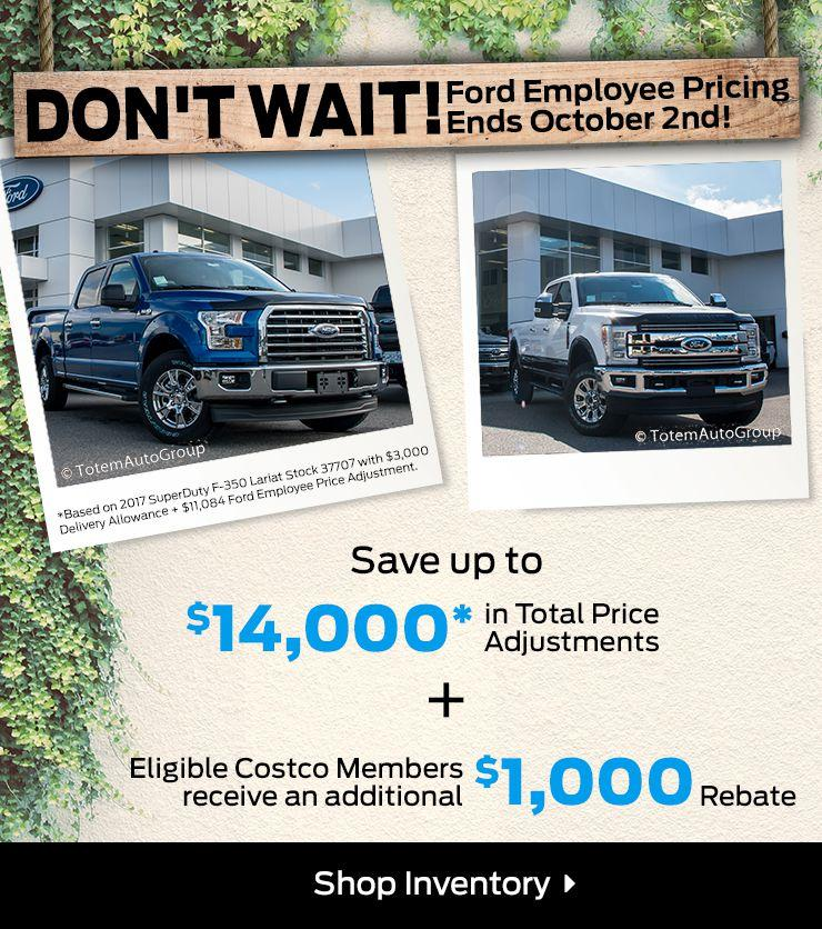 Ford Employee Pricing ends Oct. 2nd