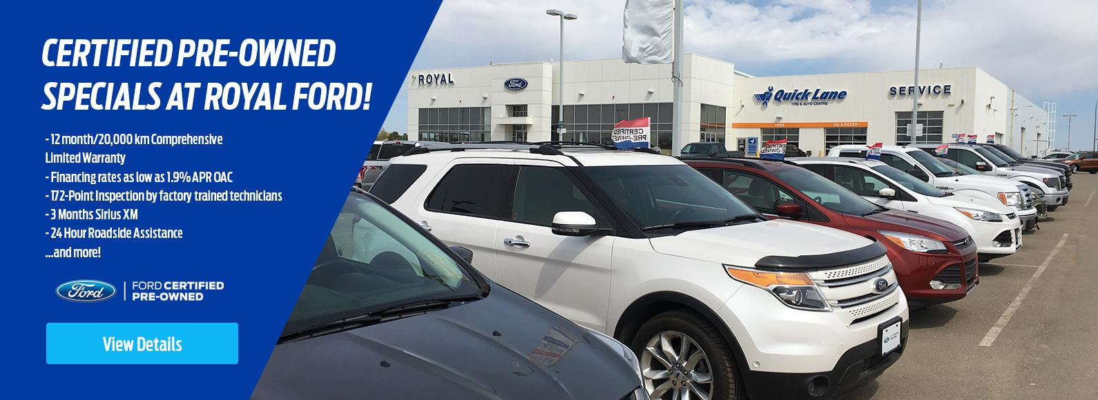 Certified pre-owned specials at Royal Ford