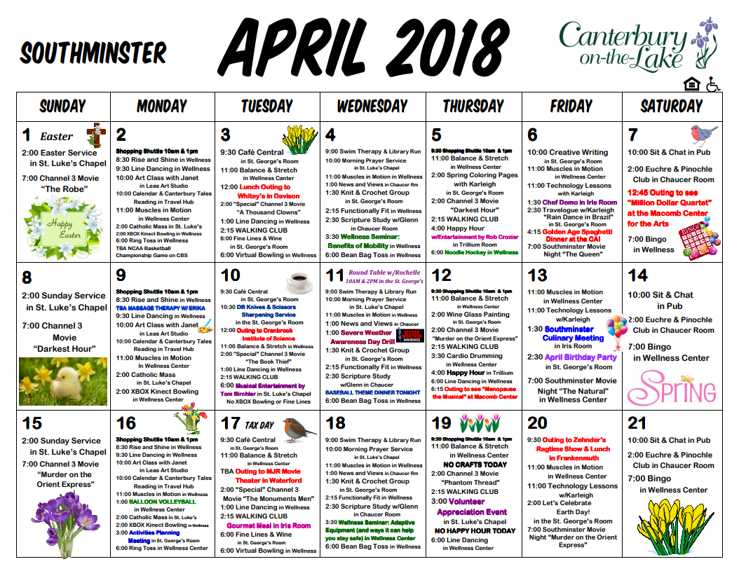 Southminster Calendar