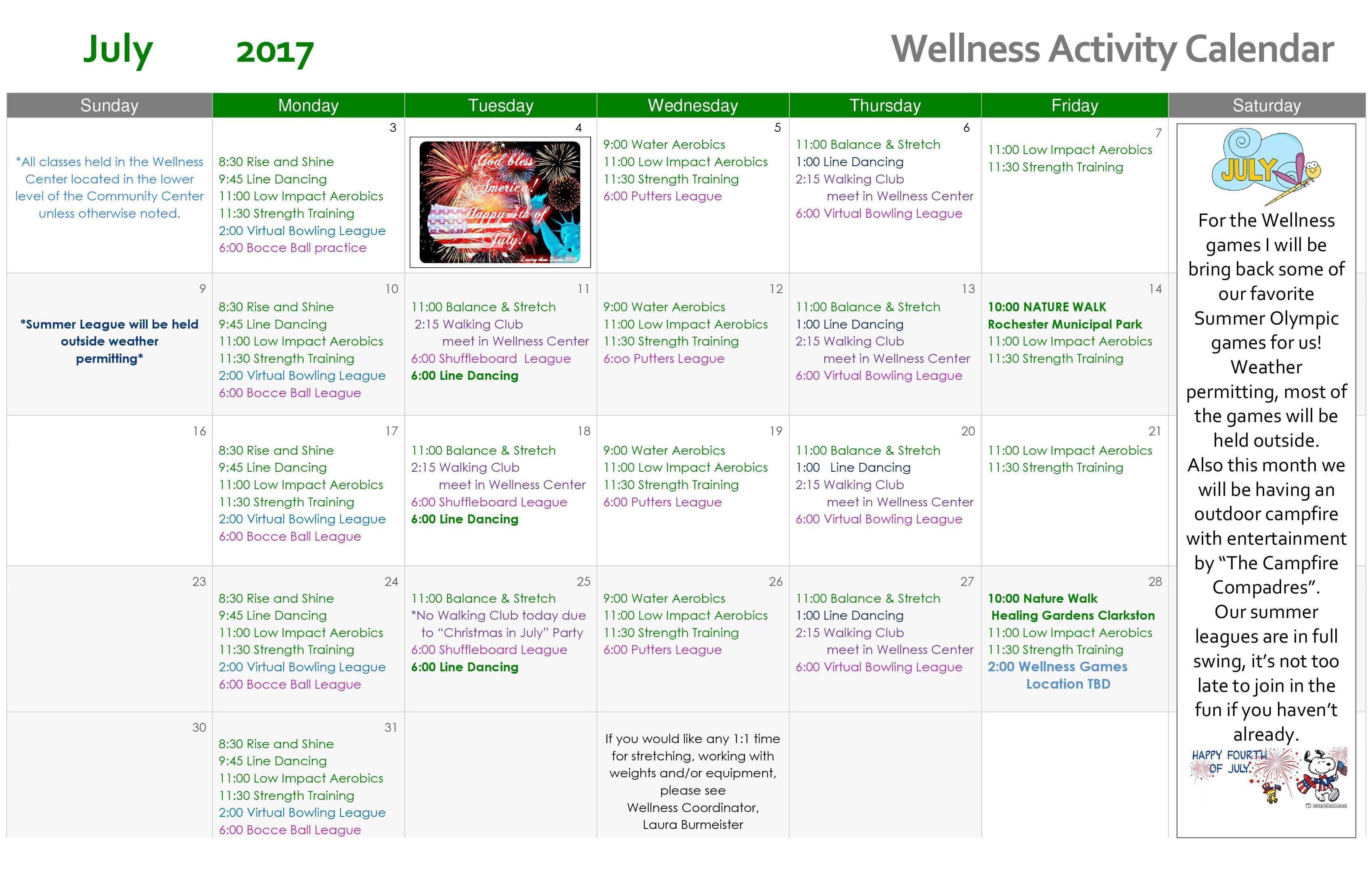 Wellness Calendar