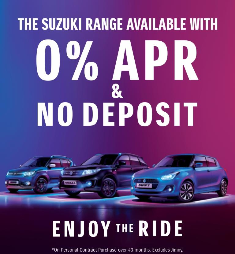 0% APR and No Deposit across the Suzuki Range