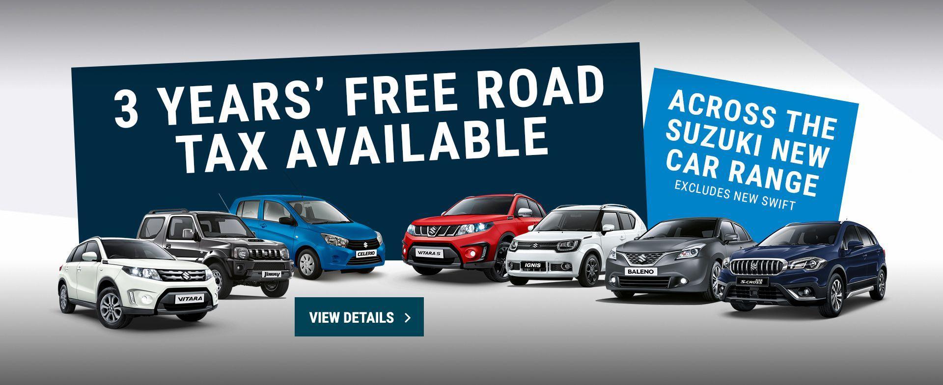 Suzuki range free road tax