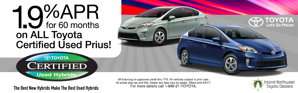 1.9% APR Toyota Certified Prius'