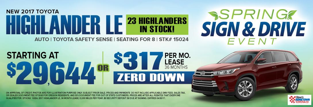 Spring Sign & Drive Event - 2017 Highlander