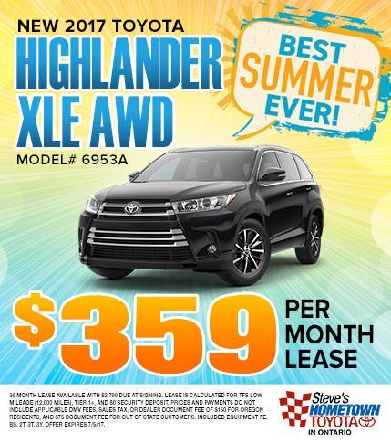 2017 Toyota Highlander XLE - $359 Per Month Lease