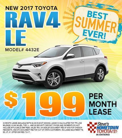 2017 Toyota RAV4 LE - $199 Per Month Lease
