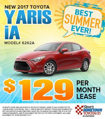2017 Toyota Yaris iA - $129 Per Month Lease