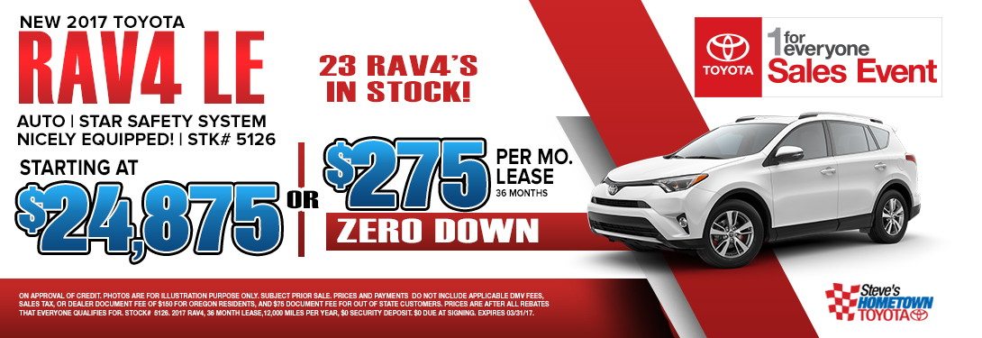 1 For Everyone Sales Event - 2017 RAV4