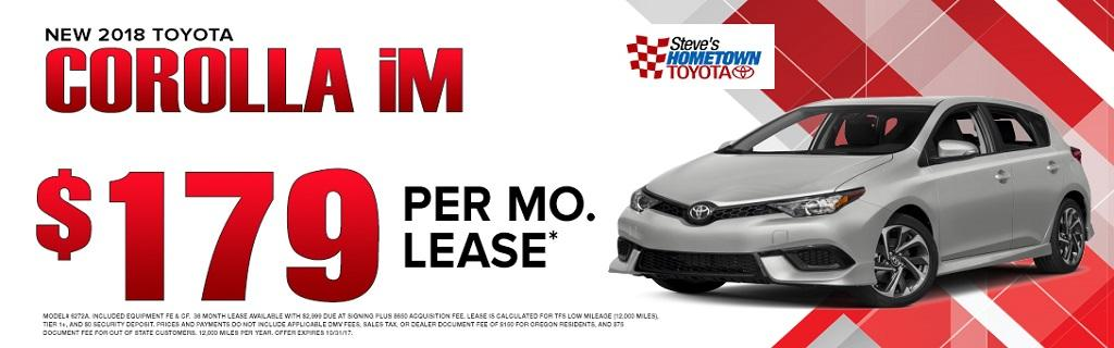 2017 Toyota Corolla iM lease special