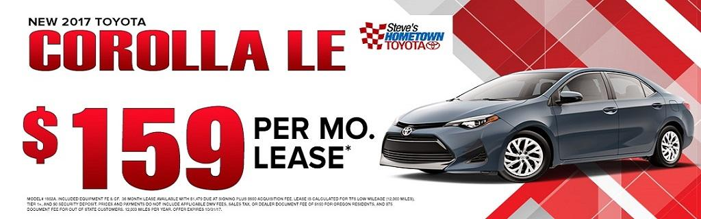 2017 Toyota Corolla LE lease special
