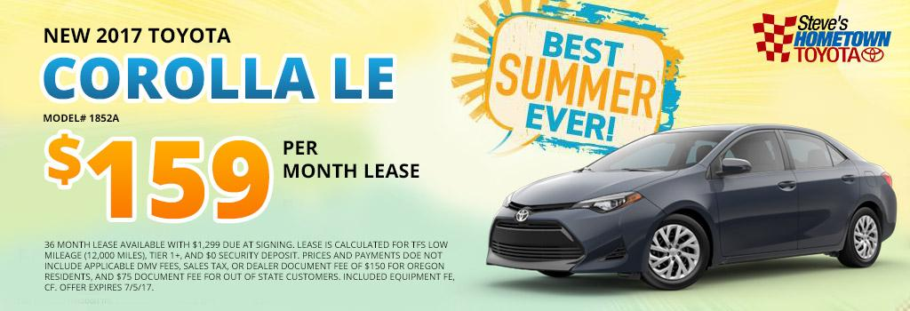2017 Toyota Corolla LE Lease Offer
