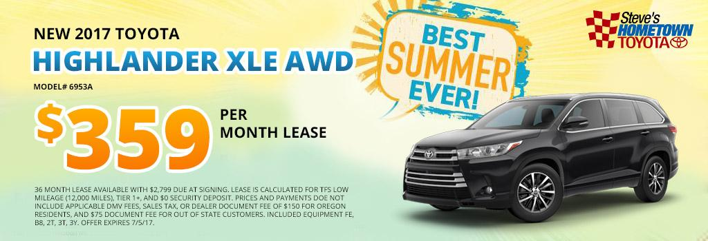 2017 Toyota Highlander XLE AWD Lease Offer