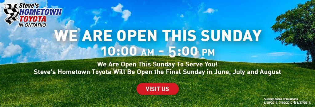 Hometown Toyota is open the last Sunday of the month