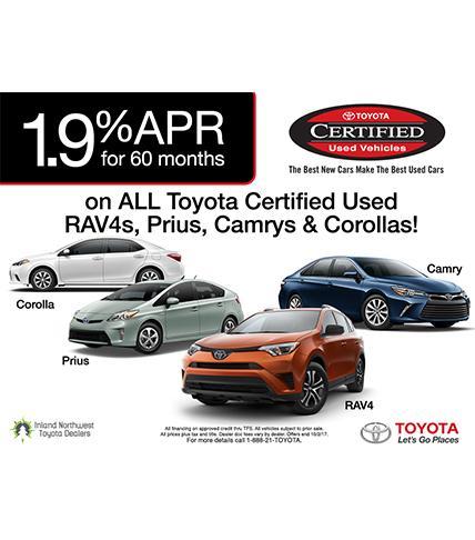 1.9% APR TCUV - RAV4, Prius, Camry; Corolla