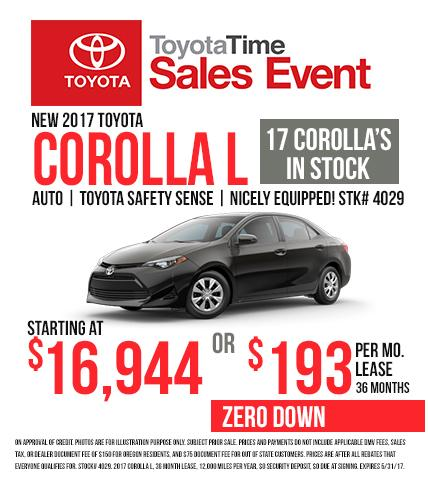 2017 Corolla - Toyota Time Sales Event