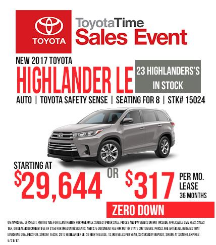 2017 Toyota Highlander - Toyota Time Sales Event