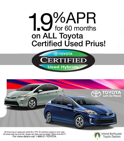 1.9% APR Toyota Certified Prius'