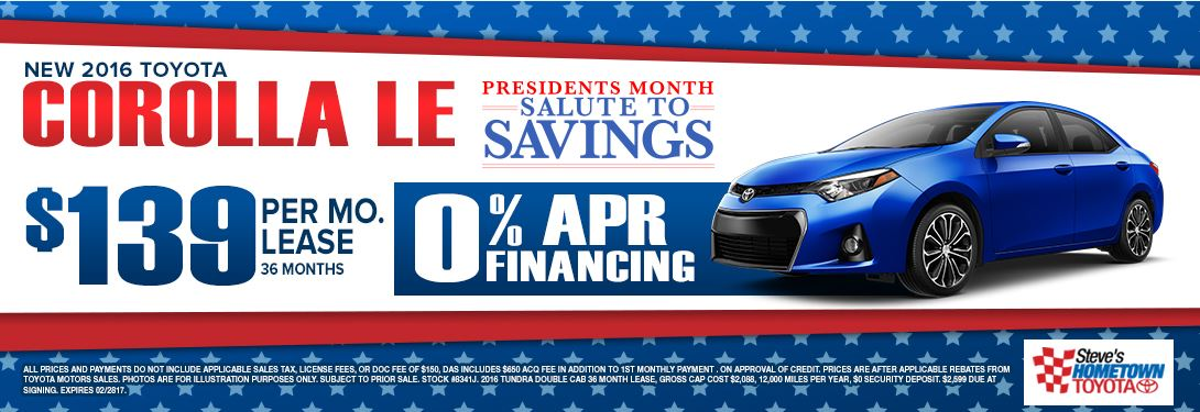 2016 Toyota Corolla - President's Month Salute to Savings
