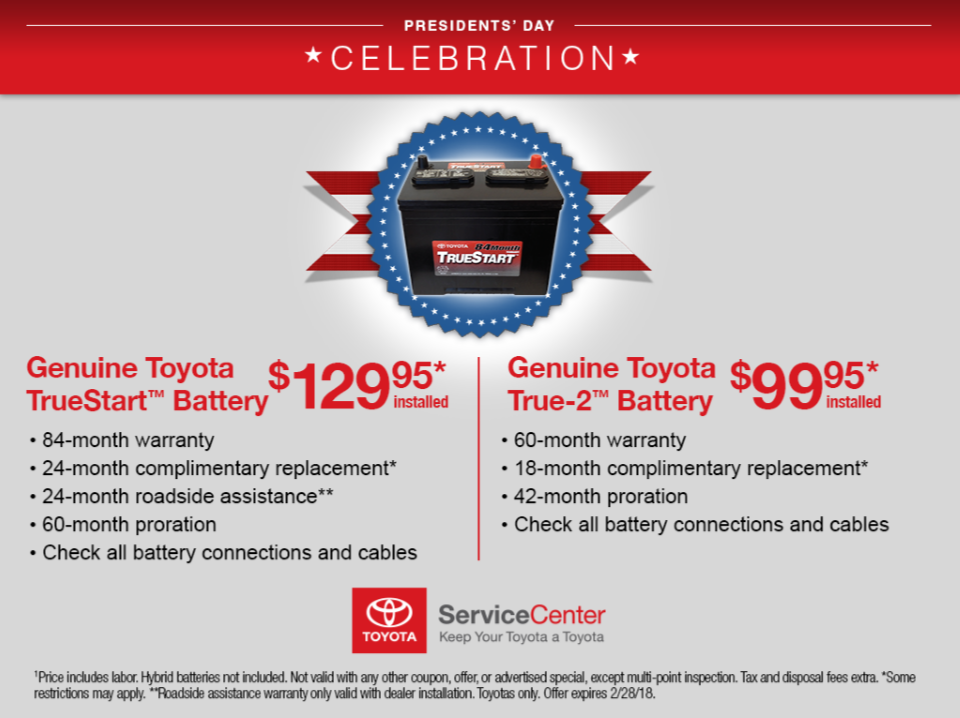 Toyota Battery Specials