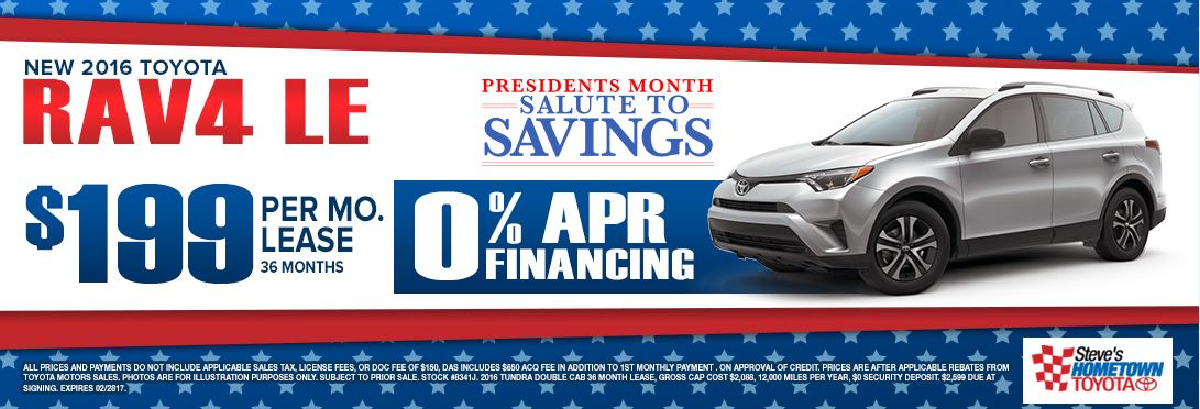 2016 Toyota RAV4 - President's Month Salute to Savings