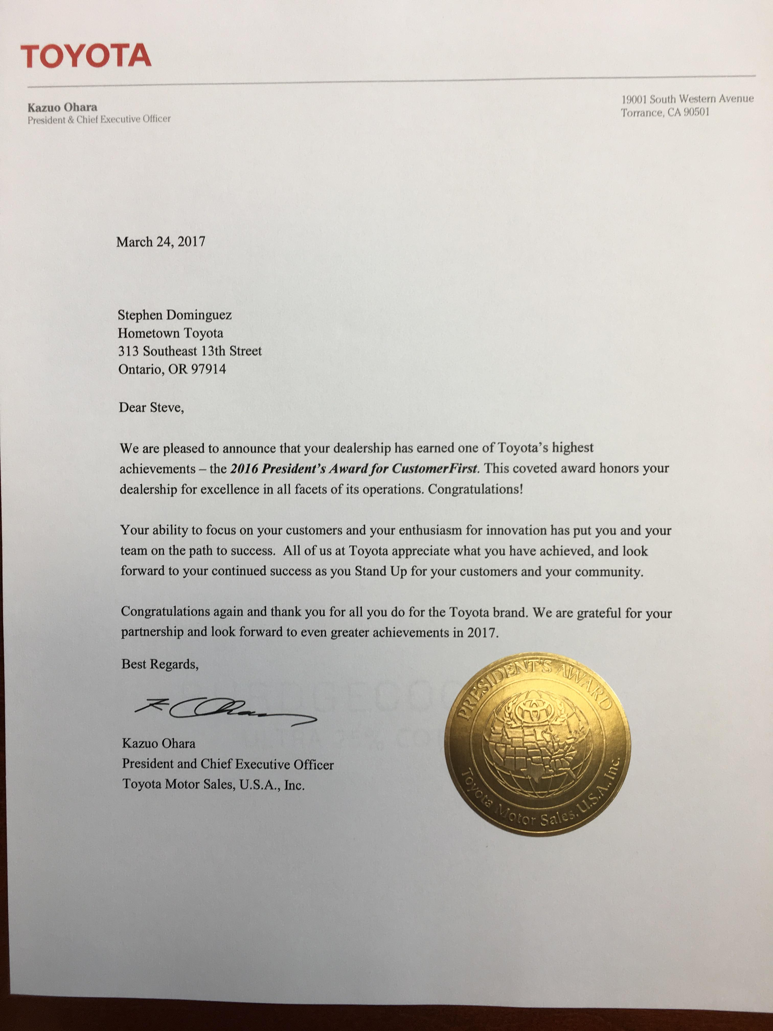 2016 Toyota President's Award