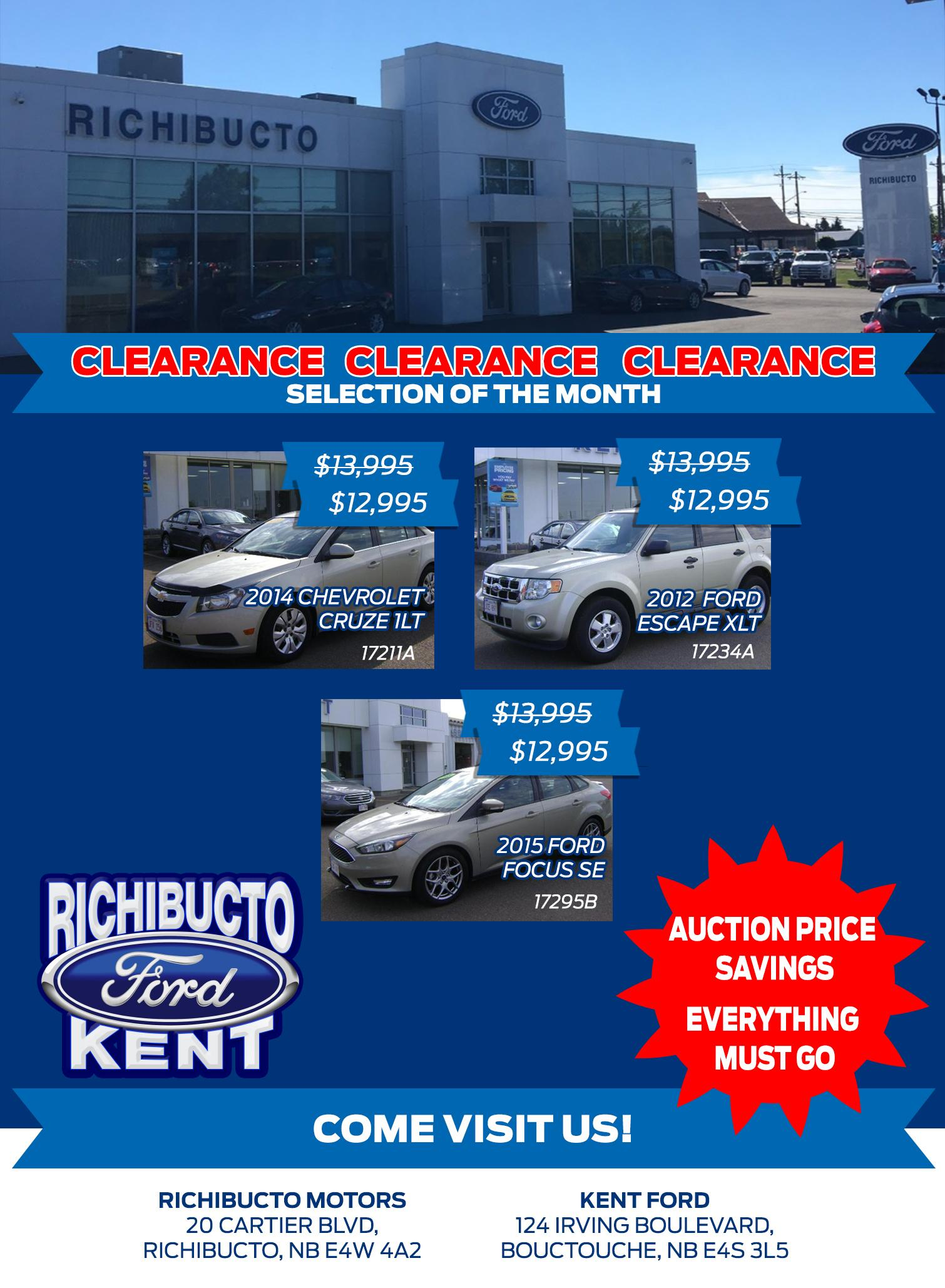 Clearance Richibucto Motors