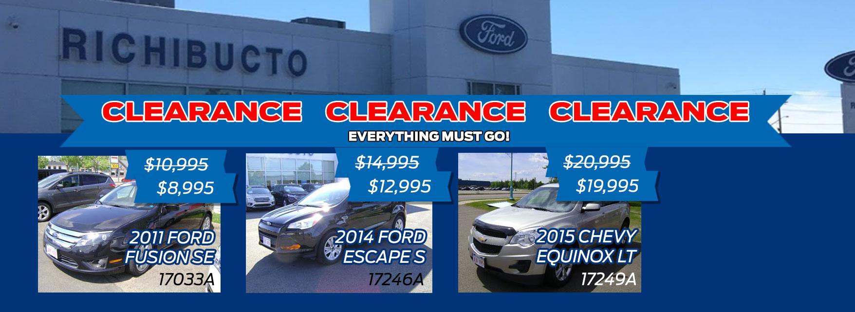 Richibucto Motors - Clearance Sale